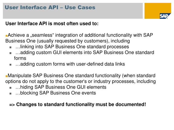 User Interface API – Use Cases