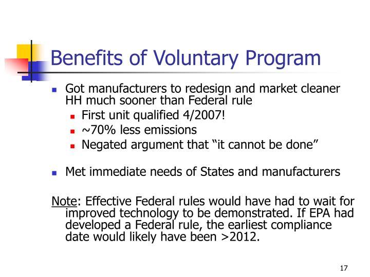 Benefits of Voluntary Program