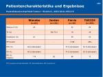 patientencharakteristika und ergebnisse