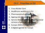 ch 2 priorities in eu