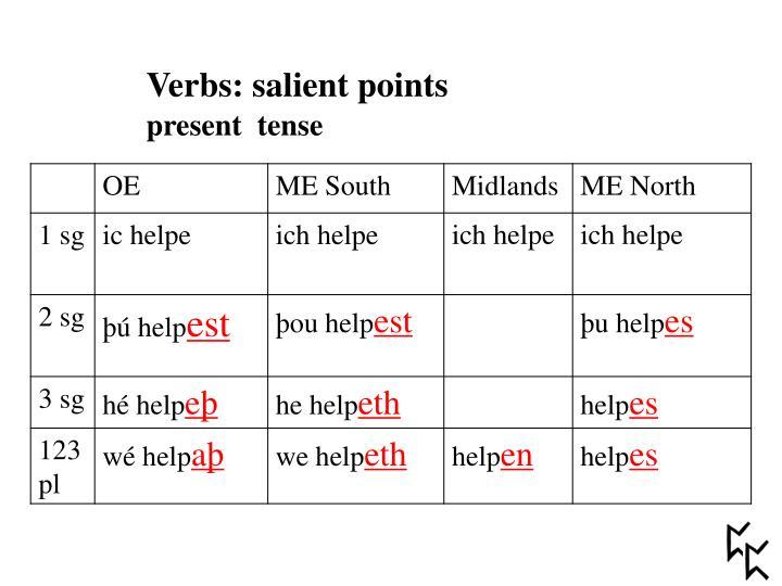 Verbs: salient points