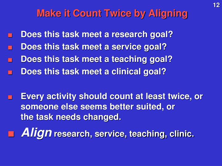 Make it Count Twice by Aligning