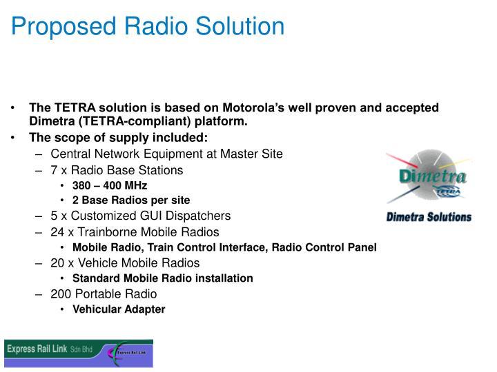 Proposed Radio Solution