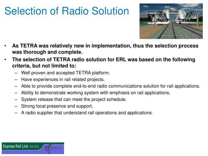 Selection of Radio Solution
