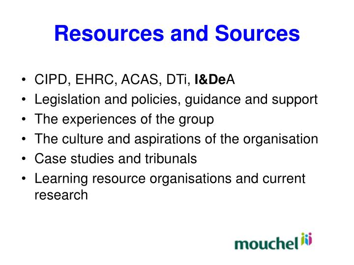 Resources and Sources