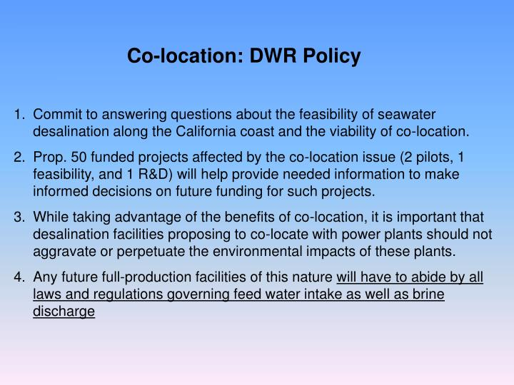 Co-location: DWR Policy