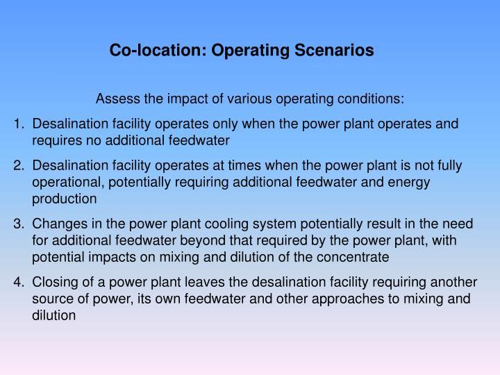 Co-location: Operating Scenarios