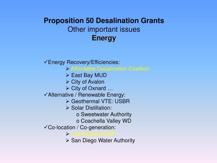 Proposition 50 Desalination Grants