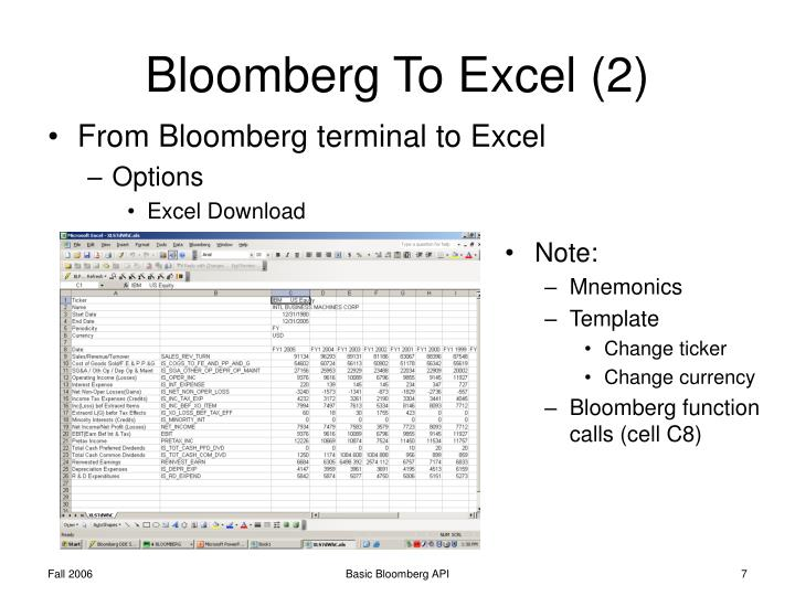 Bloomberg Terminal Basic Manual