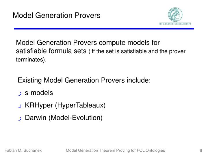 Model Generation Provers