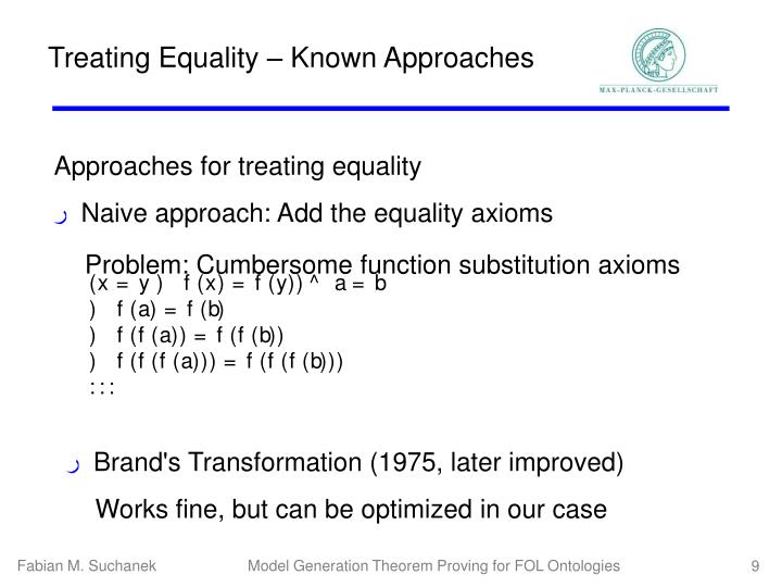 Treating Equality – Known Approaches