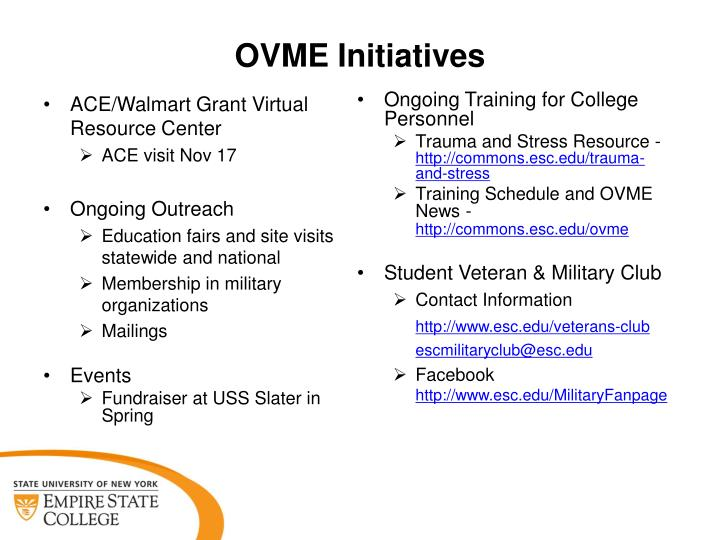 OVME Initiatives