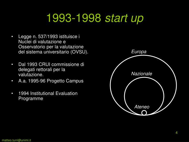 Legge n. 537/1993 istituisce i Nuclei di valutazione e Osservatorio per la valutazione del sistema universitario (OVSU).