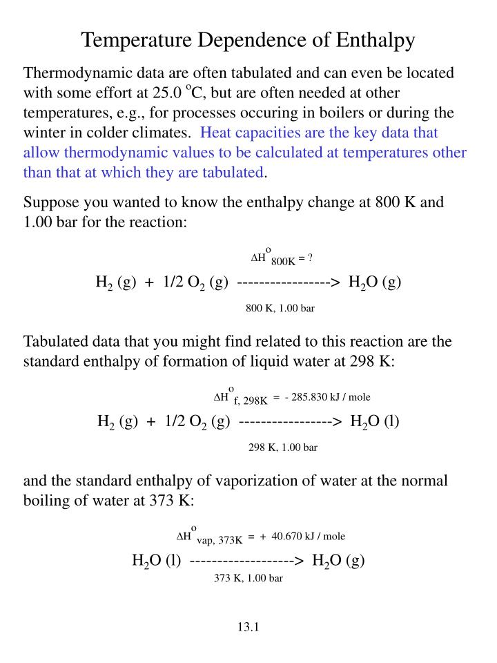 Temperature Dependence of Enthalpy