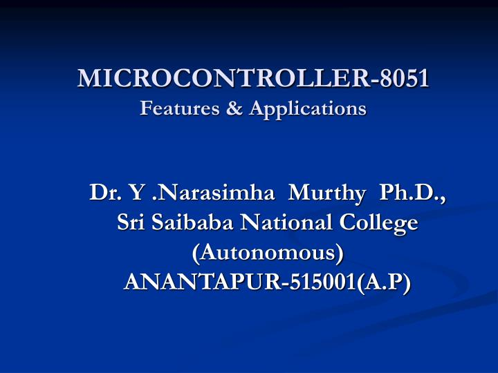 Microcontroller 8051 features applications