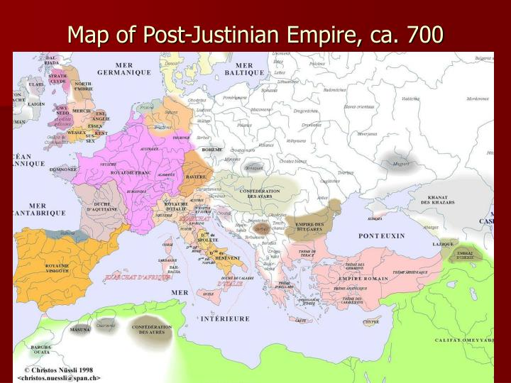 Map of Post-Justinian Empire, ca. 700