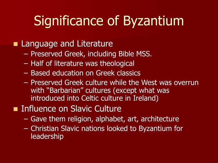Significance of Byzantium