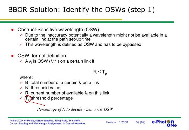 BBOR Solution: Identify the OSWs (step 1)