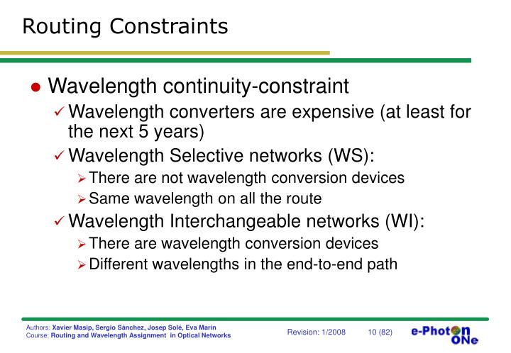 Routing Constraints