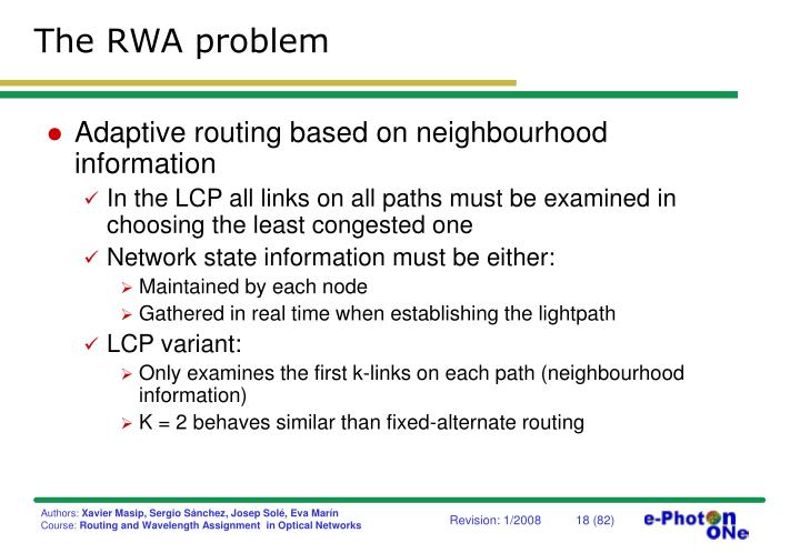 The RWA problem