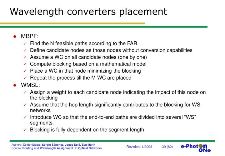 Wavelength converters placement