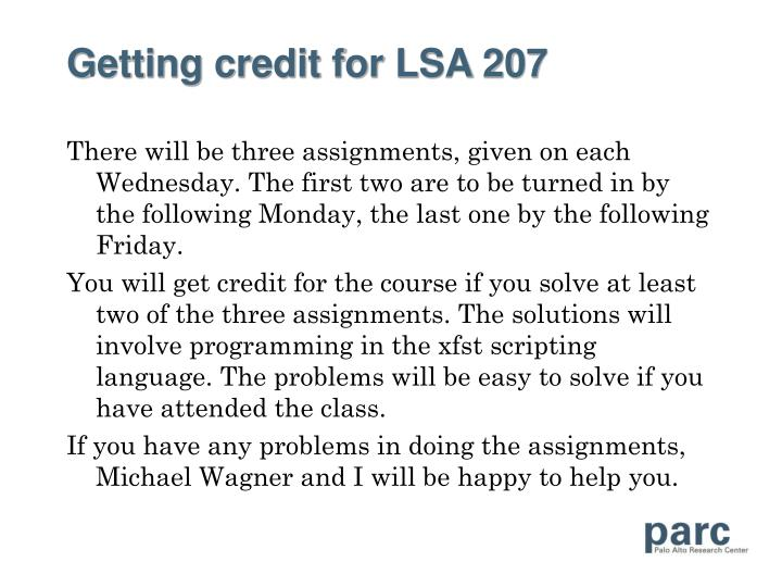 Getting credit for LSA 207