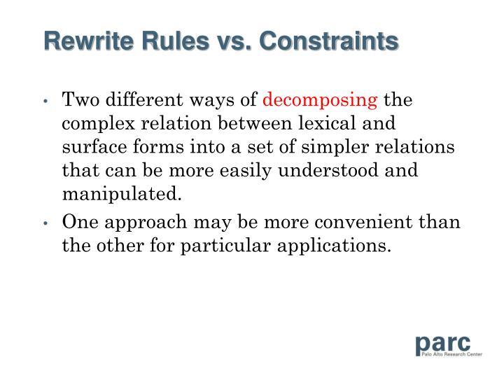 Rewrite Rules vs. Constraints
