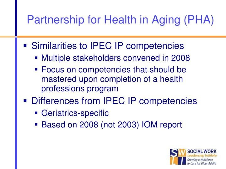 Partnership for Health in Aging (PHA)