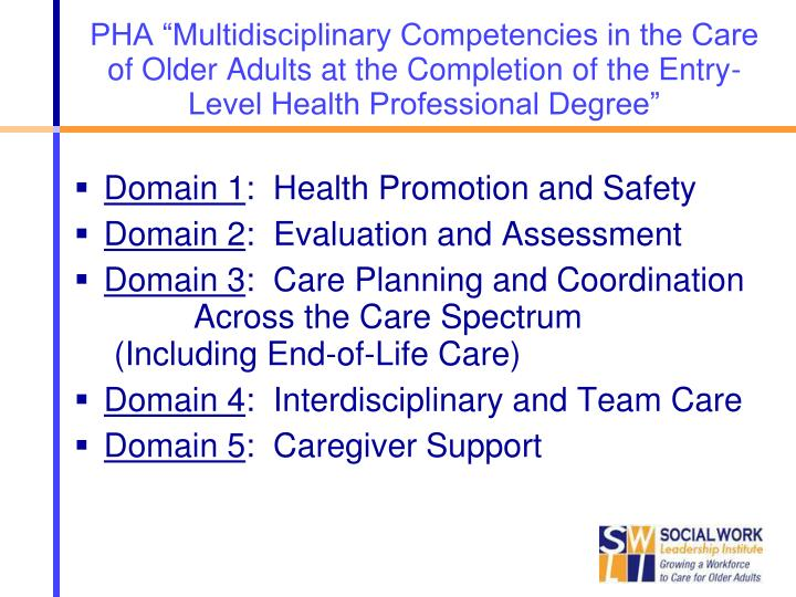 "PHA ""Multidisciplinary Competencies in the Care of Older Adults at the Completion of the Entry-Level Health Professional Degree"""