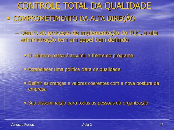 CONTROLE TOTAL DA QUALIDADE