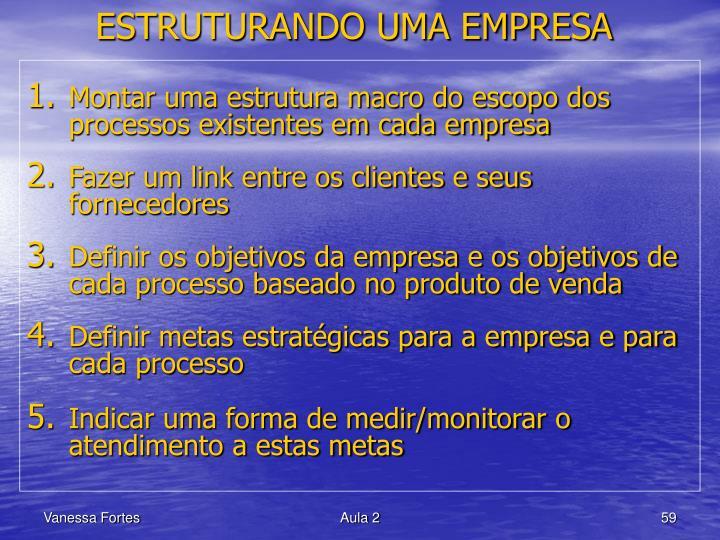 ESTRUTURANDO UMA EMPRESA