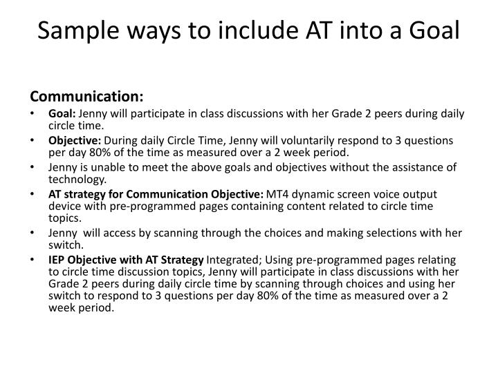 Sample ways to include at into a goal2