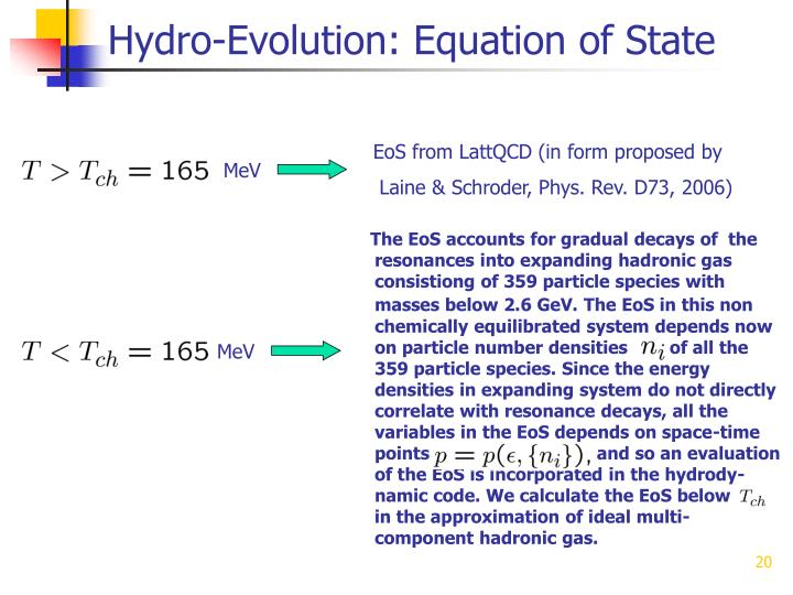 Hydro-Evolution: Equation of State