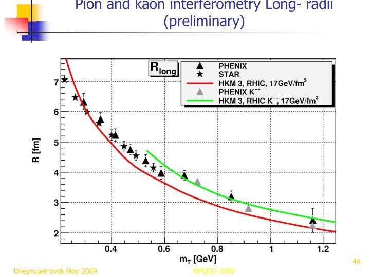 Pion and kaon interferometry Long- radii (preliminary)