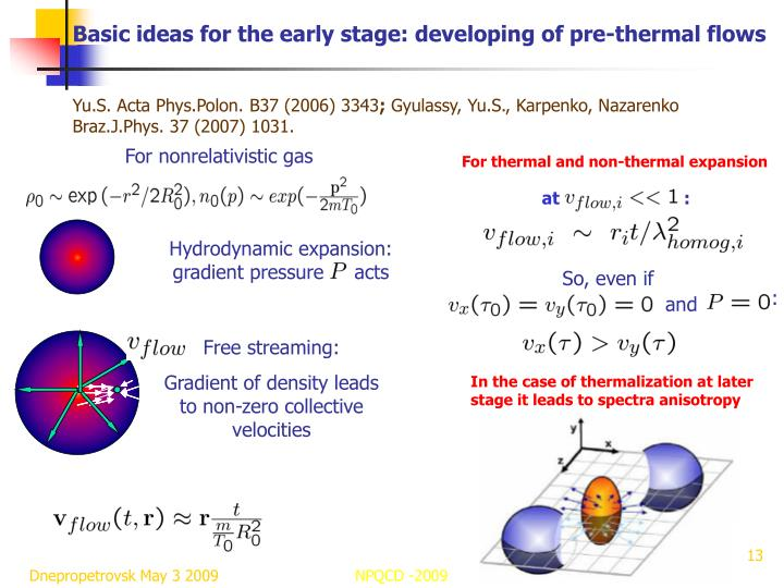 Basic ideas for the early stage: developing of pre-thermal flows