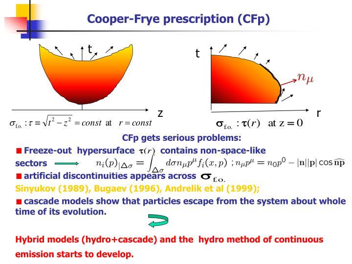 Cooper-Frye prescription (CFp)
