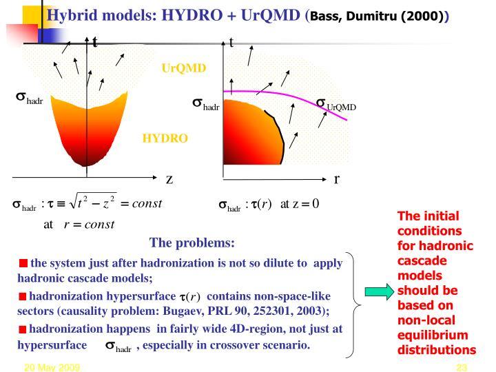 Hybrid models: HYDRO + UrQMD (