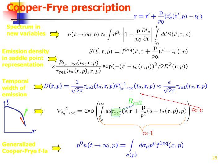 Cooper-Frye prescription