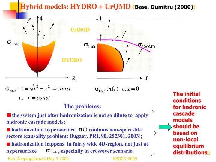 Hybrid models: HYDRO + UrQMD