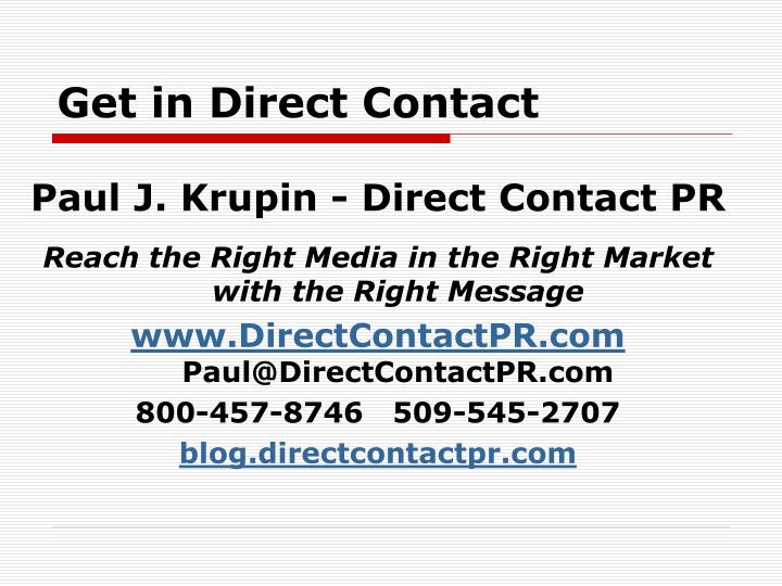 Get in Direct Contact