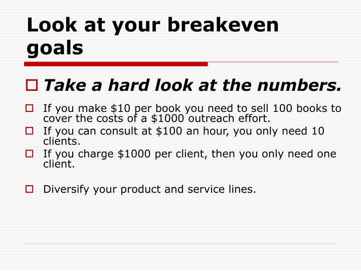Look at your breakeven goals