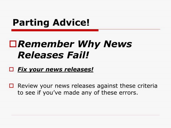 Parting Advice!