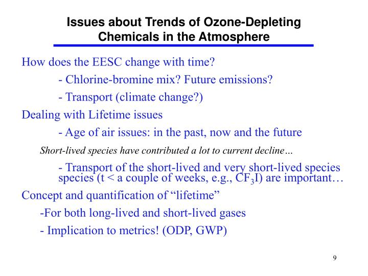 Issues about Trends of Ozone-Depleting Chemicals in the Atmosphere