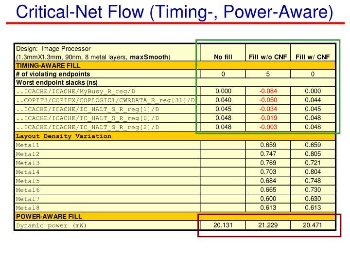 Critical-Net Flow (Timing-, Power-Aware)