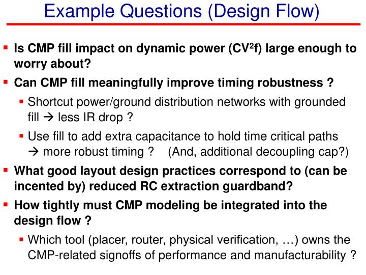 Example Questions (Design Flow)