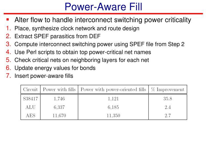 Power-Aware Fill