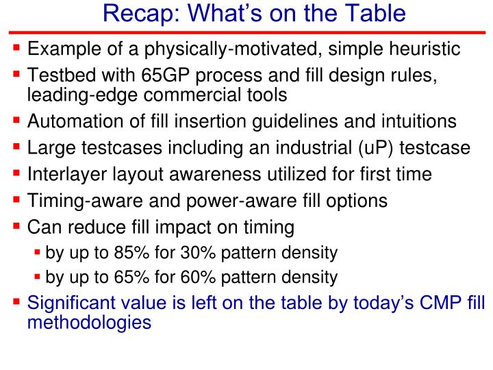 Recap: What's on the Table