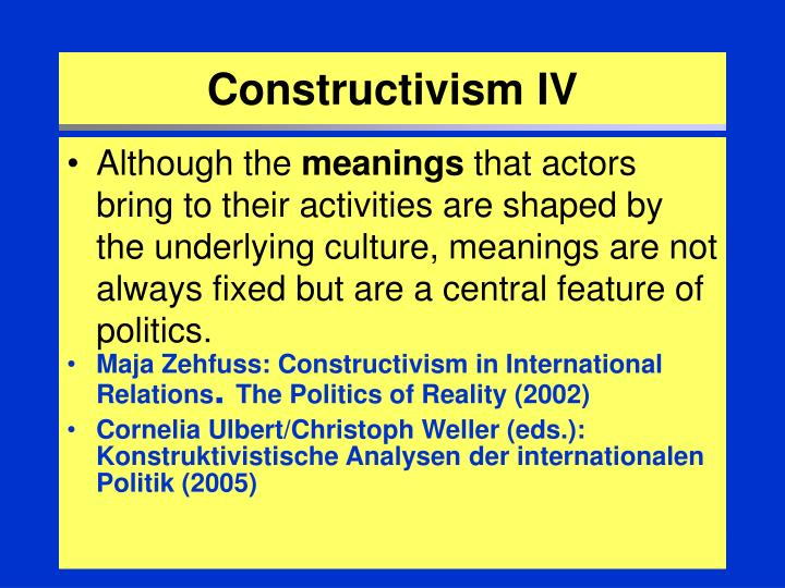 constructivism in international relations Constructivism has become a major theoretical challenger to the dominant international relations paradigms, realism and liberalism (ba and hoffmann 2003) the interplay between.