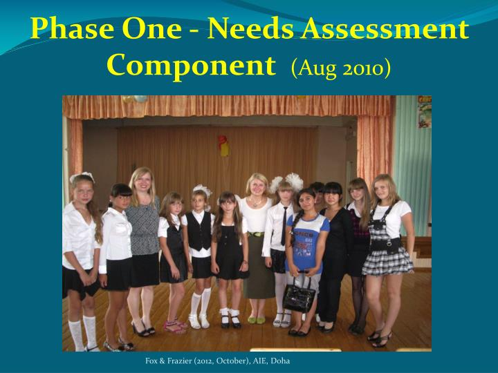 Phase One - Needs Assessment Component