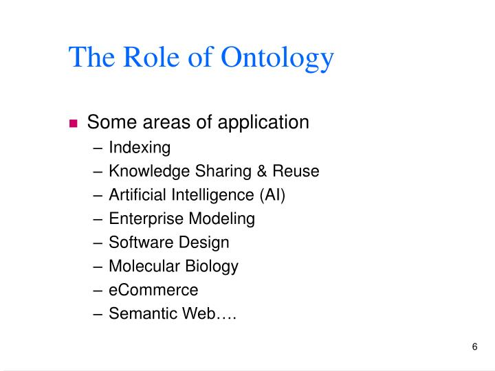 The Role of Ontology
